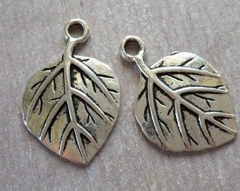 Leaf charms, large leaf pendants, silver, 22 x 15 mm
