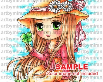 Digital Stamp -Sally Mae(#349), Digi Stamp, Coloring page, Printable Line art for Card and Craft Supply