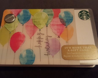 Starbucks Upcycled Refillable Giftcard Notebook - 2014 Happy Birthday Balloons