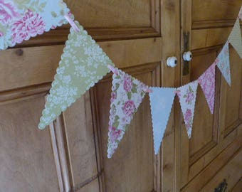 Paper Bunting Banner - Tea Party - Pastel Green, Pink, Blue - 1.5m / 5ft Garland - Wedding, Shower Decoration - Dainty Floral