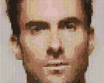 Portrait of Adam Levine counted Cross Stitch Pattern detailed digital download