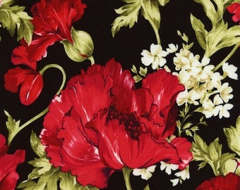 SALE*****C4733 Peonies***Timeless Treasures Art Quilting/Collage/Applique/Fabric with lights, Mediums & Darks