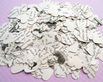 Alice In Wonderland Heart Novel Book Confetti - Choose from amounts of 200 to 2000 - Wedding Vintage Table Decor Hearts