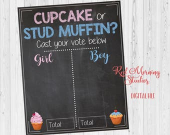 Cupcake or Stud Muffin Gender Reveal Guess sign. PRINTABLE baby shower chalkboard poster boy or girl