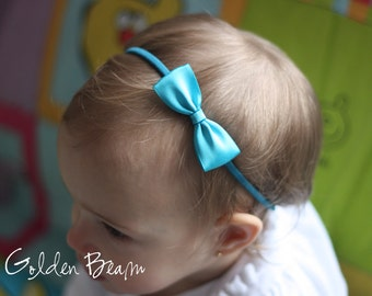 Baby Headbands Bows - Flower Girl Headband - Small Satin Turquoise Bow Handmade Headband