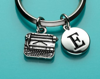 Typewriter Keychain, Typewriter Key Ring, Office Equipment Charm, Initial Keychain, Personalized Keychain, Charm Keychain, 139