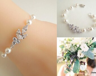crystal bracelet Cubic Zirconia Pearl Bracelet Rhinestone bracelet vintage style Wedding Bracelet statement bracelet bridal jewelry LORNA