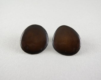 Chocolate Brown Tagua Nut Post Eco Friendly Earrings with Free USA Shipping