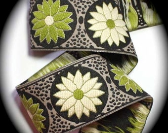 "Ribbon - 1 1/2"" 2 yds Khaki, Black, Kiwi  and Ivory - Daisy Dot Flower Woven Jacquard Ribbon Trim"