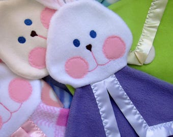 Baby bunny security lovey blanket in Purple Fisher Price Bunny Puppet blanket Replica