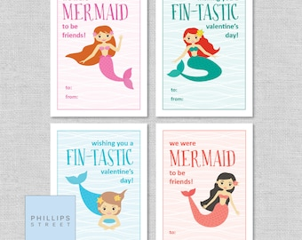 printed MERMAID valentine's day cards . kids Valentines cards . children's classroom valentines . mermaids . customizable