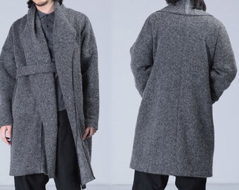 157---Men's Knit Wool Gray Coat, XS, S, M, L, XL.
