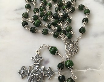 St Francis Rosary - All Sterling Silver - Chrome Diopside Green - Beautiful!!