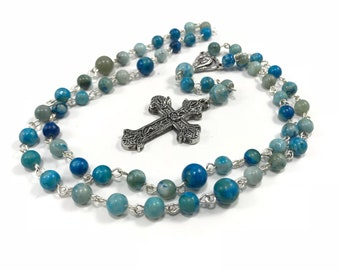 Turquoise Rosary; Blue Catholic Rosary; Blue Gray Rosary; Gemstone Rosary Turquoise Rosary Prayer Beads Traditional Catholic, 5 Decade