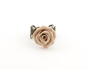 Flower rings women - floral ring - adjustable ring - bridesmaid ring - boho ring - flower jewelry - rose jewelry - rose ring - filigree ring