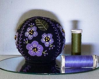 Handmade Pincushion Felted Wool Purple Violets on a Black Pincushion