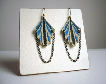 Earrings graphic art deco printed leather and brass