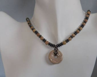 African Opal Gemstpme Donut and Gunmetal Beaded Necklace
