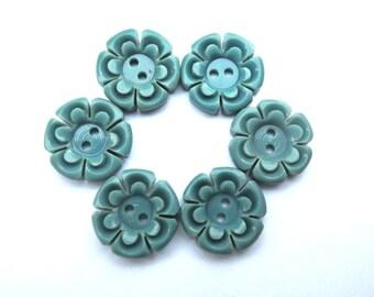 6 Buttons flowers, vintage antique flowers plastic 15mm, blue green, RARE