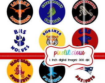Digital Bottle Cap Images - Digital Bottle Cap Images - Custom School Name and Logo - 1 inch Digital Bottle Cap Images
