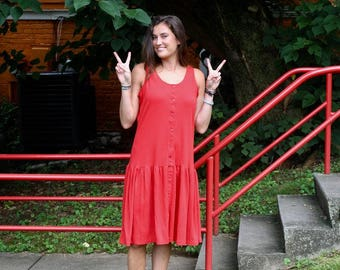Retro Red Babydoll Sleeveless Dress