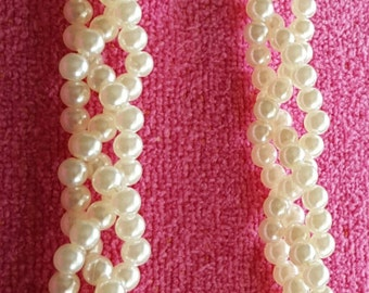 HEADBAND: Elegant Braided White Pearl Beaded Elastic Headband
