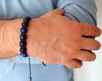 Mens bracelet , Sodalite bracelet , Beaded bracelet , Boyfriend gift , For men , Healing bracelet , Boho bracelet , For him