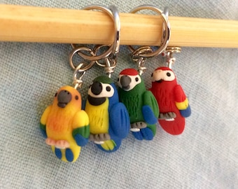 Macaw, Parrot Stitch Markers, Miniature Animals, Knitting Tools, Knitting Accessories, Progress Keepers, Polymer Clay, set of 4