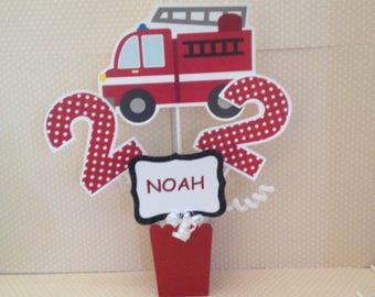 Firefighter, Fire Truck, Fire Engine, Dalmatian Party Centerpiece Decoration