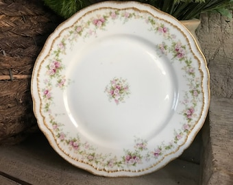 Limoges France Pink Floral Plate, Theodore Haviland, Gold Gild Edge, Cottage Shabby Chic