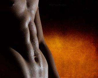 Mist Gay Art Male Art Photo Print by Michael Taggart Photography red orange gold muscle muscles muscular strong six pack sixpack abs water