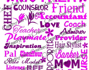 """SVG PNG DXF Eps Ai Wpc Cut file for Silhouette, Cricut, Pazzles  - Just In Time for Mother's day - """"Mother"""" Subway Art svg"""