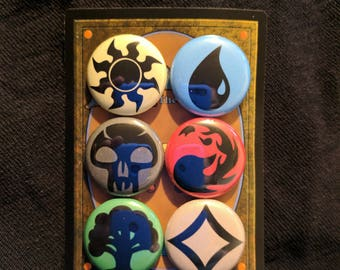 "L006 MTG 1"" Pinback Button Pin Set of 6 Magic: The Gathering Mana Symbol TCG Trading Card Game Plains Island Swamp Mountain Forest Colorless"