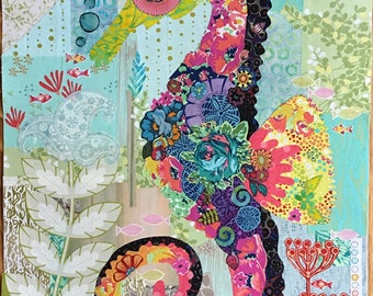 "Seahorse Pattern - Laura Heine Applique Quilt Pattern - Mini ""Havana"", Seahorse - DIY Pattern Or Kit Option - full size reusable template"