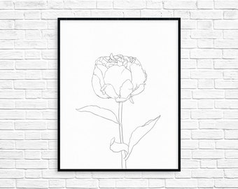 Rose Illustration/Art Print/Wall Art/Instant download/Printable/Flower/Black and white/Line drawing/Floral/Minimalism/Simple/AP19
