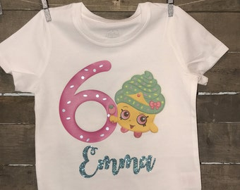 Personalized Shopkins birthday tee