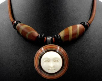 Carved Bone Moon Necklace