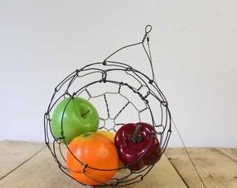 Hanging Wire Basket, Sphere, Fruit Basket, Country Style, Rustic