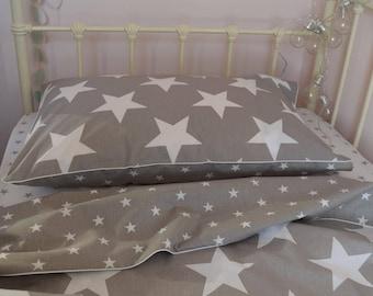 100% COTTON Children Single bedding Set Boys Grey White  Stars reversible bedding with black piping