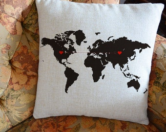 Custom world map pillow cover, long distancegift , boyfriend pillow case, personalized world state cushion cover, wedding gift for couples