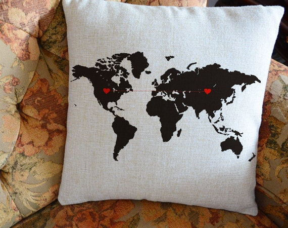 Custom world map pillow cover long distancegift boyfriend custom world map pillow cover long distancegift boyfriend pillow case personalized world state cushion cover wedding gift for couples gumiabroncs Image collections