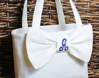 Flower Girl - Personalized Linen Tiny Tote with Bow - Weddings
