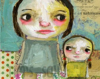 Like mother like daughter - mixed media art print by Mindy Lacefield