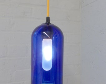 Upcycled Repurposed SKYY VODKA  Hanging Pendant Lamp color fabric cord swag light