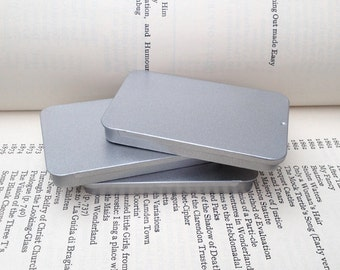 40ml Sliding Lid Tins, Rectangular Metal Tins, Silver Color, Flat Business Card Storage Box, (A Set Of 12 Tin Boxes)