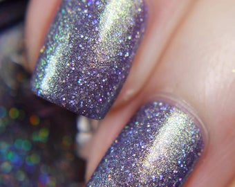 """Nail polish - """"Little Whispers"""" A grey leaning purple with strong gold to green shifting shimmer and silver glitter"""