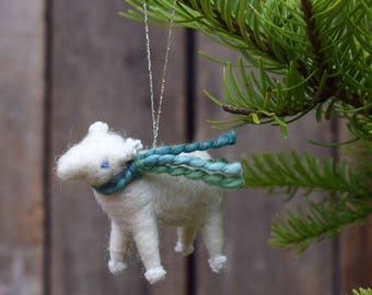 Lamb with a Green Scarf - Needle Felted Sheep Christmas Ornament