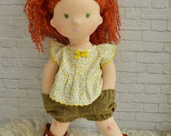 "Organic waldorf doll girl Big Red hair ragdoll 17"" Steiner soft toy Birthday granddaughter gift ideas daughter Textile cloth doll for girl"