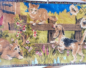60s Kitsch Kittens Puppies Vintage Tapestry Rug Wall Hanging Lebanon Rayon 1960s Decor Animal Cat Dog Lover Gift
