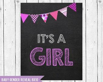 It's a girl pregnancy announcement // gender reveal // pregnancy chalkboard // Instant Download JPEG Printable